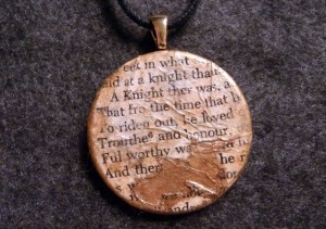 I may have destroyed a perfectly good copy of The Canterbury Tales, but with a little paint, it became one of my favorite necklaces